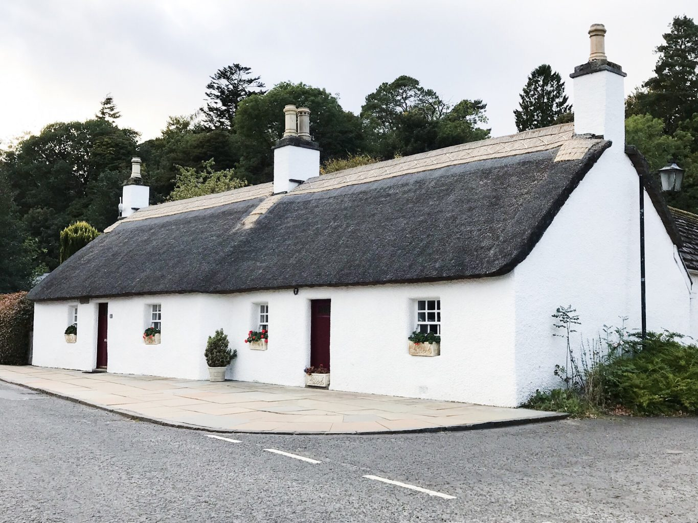 White Cottages with Thatched Roof in Glamis