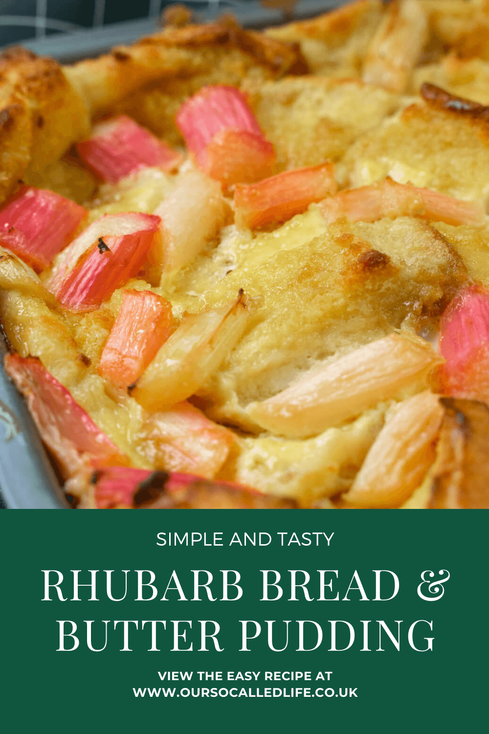 Rhubarb Bread and Butter Pudding Recipe