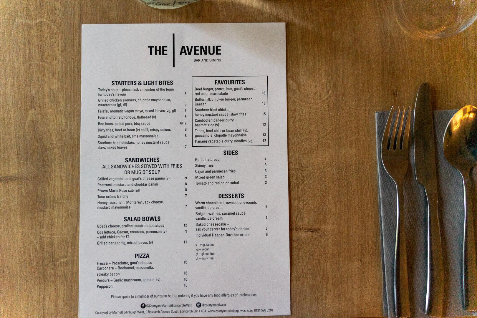 The Avenue Restaurant Menu at Marriott Courtyard Edinburgh West