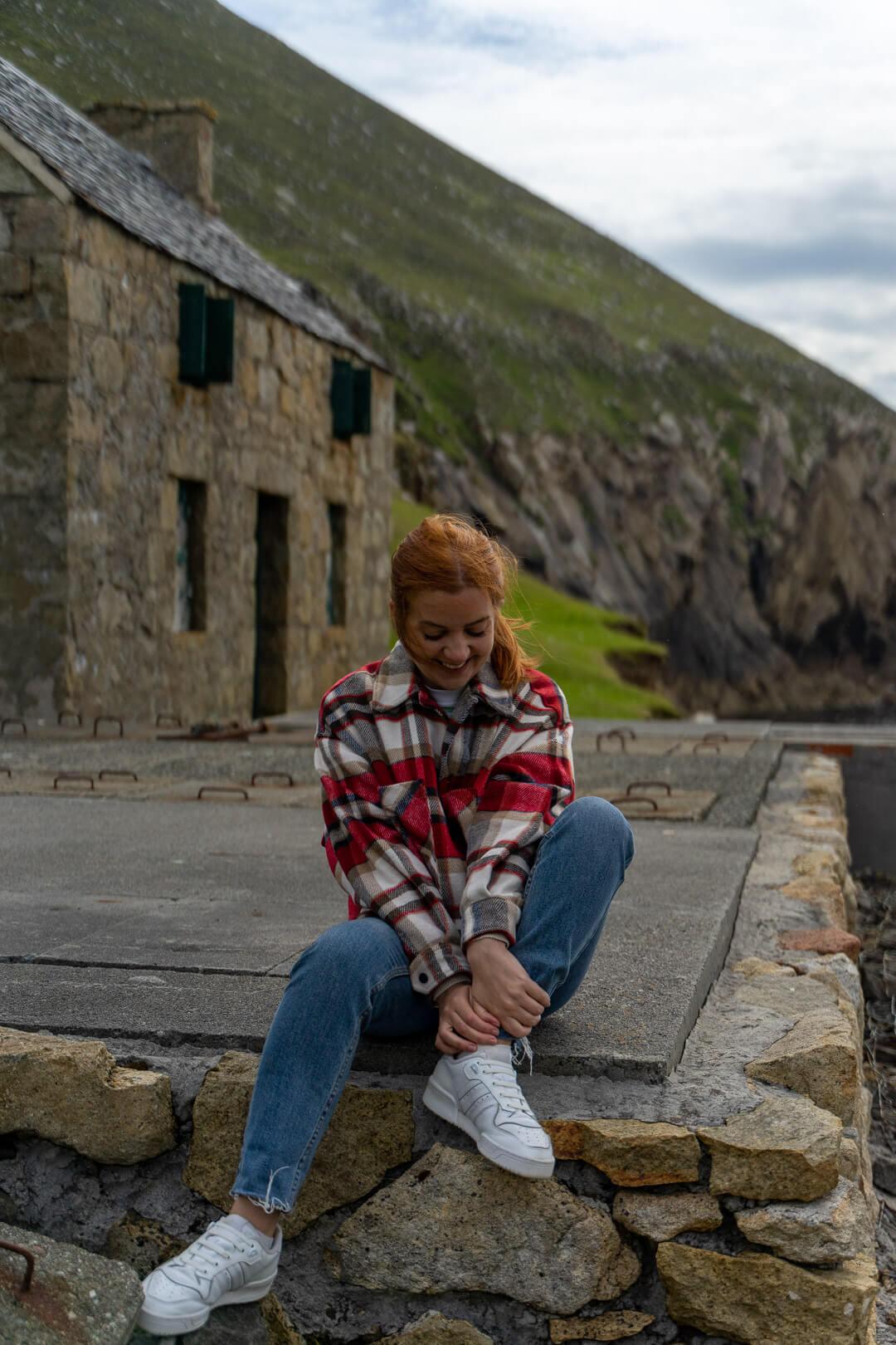 Lauren and building on St Kilda